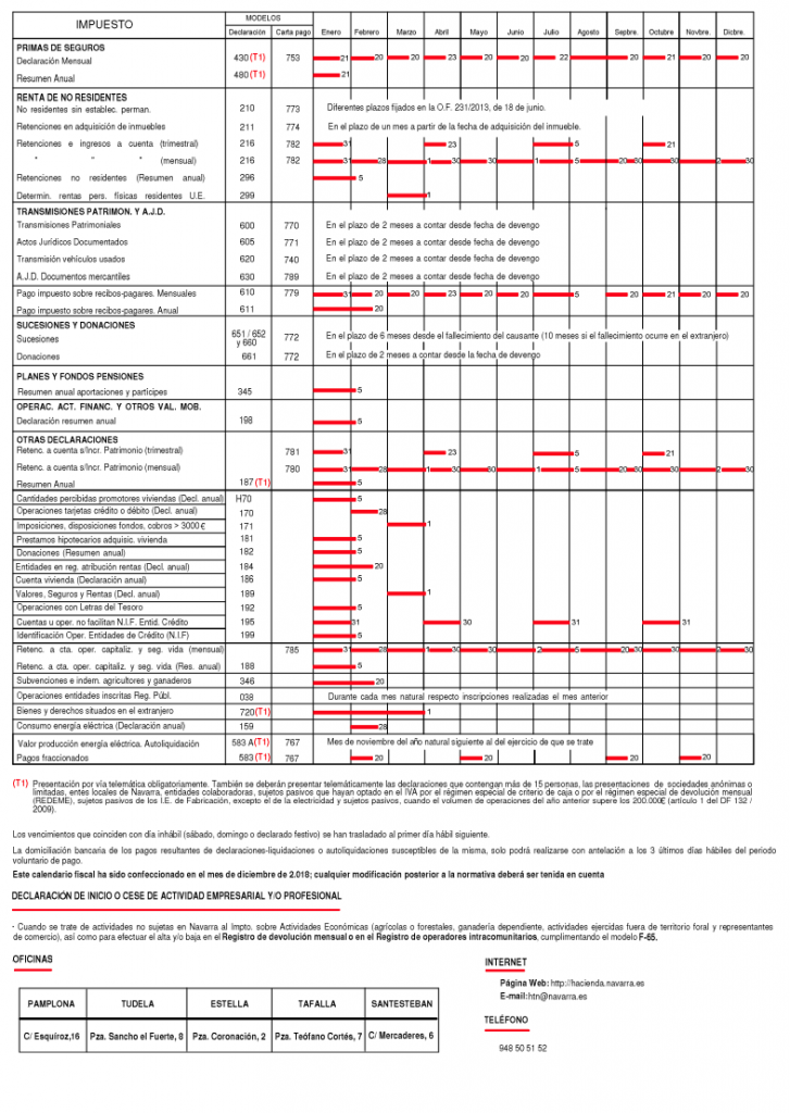 Calendario Fiscal 2019 Autonomos.Calendario Fiscal 2019 De Navarra Daco Asesores